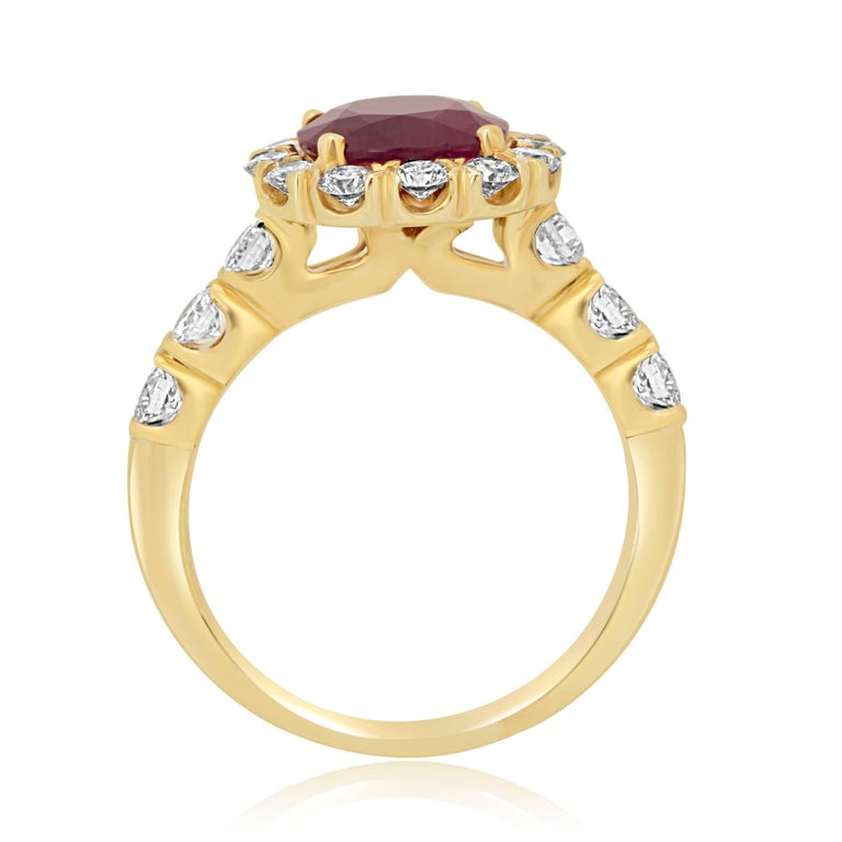Cushion Cut GIA Certified Burma Ruby Cushion 2.33 Carat Diamond Halo Gold Bridal Ring For Sale