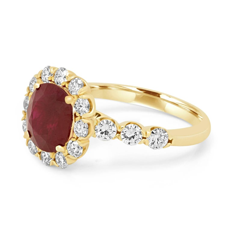 GIA Certified Burma Ruby Cushion 2.33 Carat encircled in a single halo of white round diamonds 1.02 Carat in a stunning 14K Yellow Gold Fashion Bridal Ring.  MADE IN USA Total Stone Weight 3.35