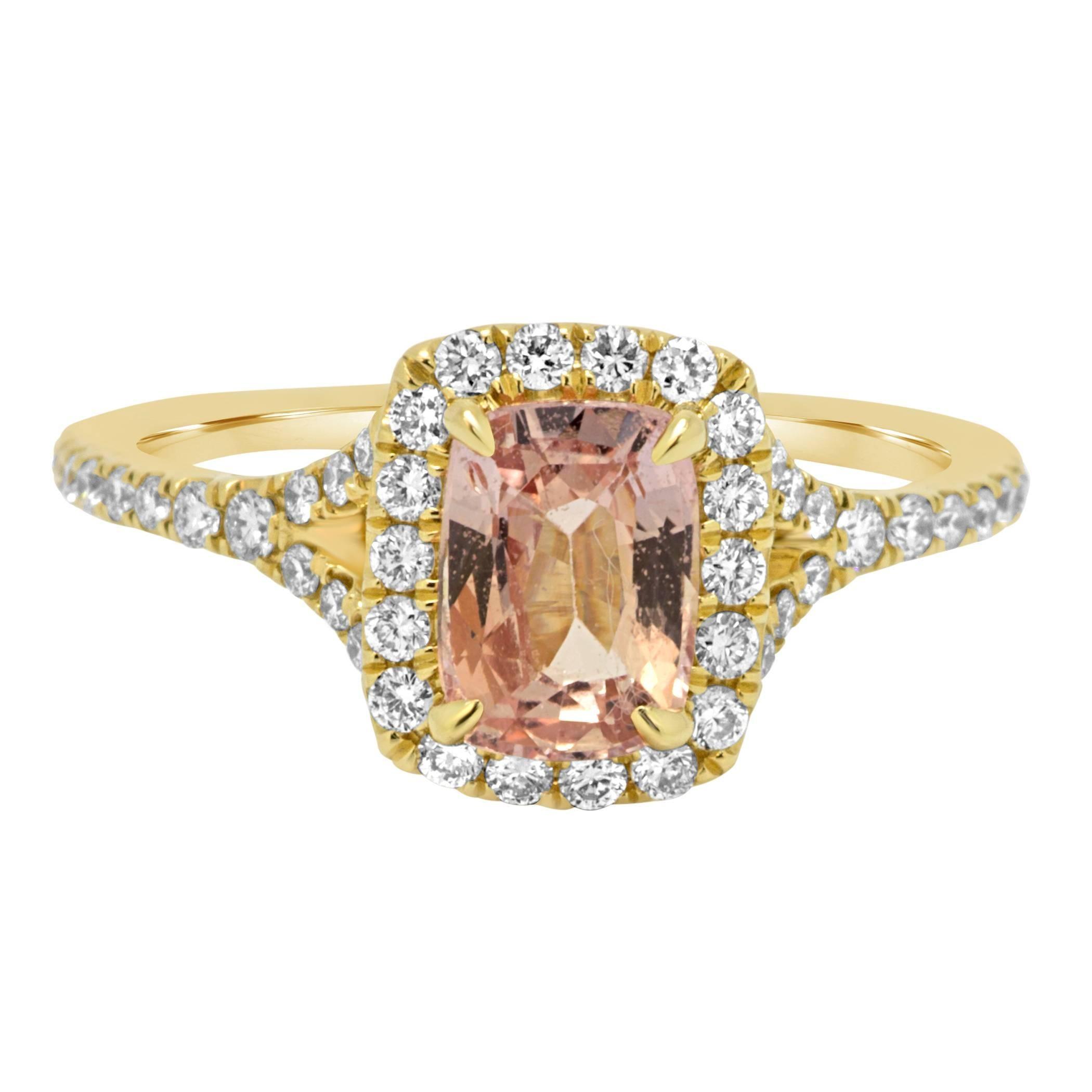 Padparadscha Sapphire Diamond Halo Gold Ring