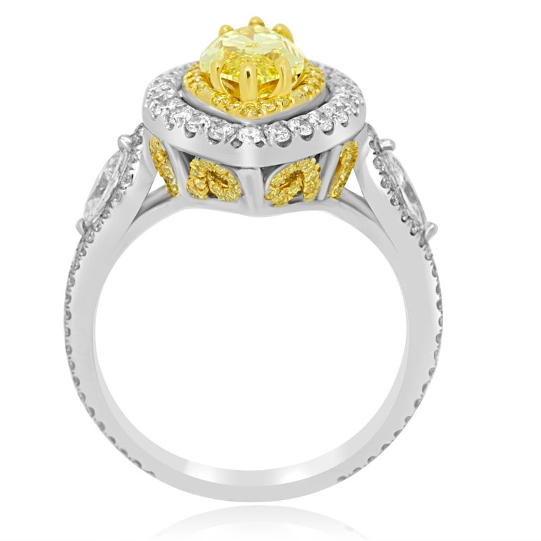 GIA Certified Fancy Intense Yellow Diamond Double Halo Two Color Gold Ring In New Condition For Sale In NEW YORK, NY