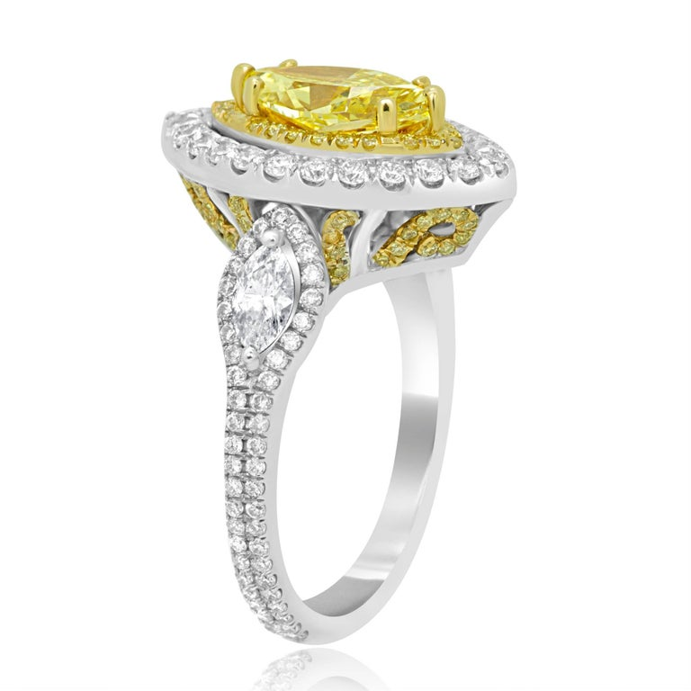 Modern GIA Certified Fancy Intense Yellow Diamond Double Halo Two Color Gold Ring For Sale
