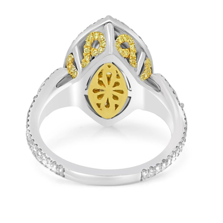 Women's GIA Certified Fancy Intense Yellow Diamond Double Halo Two Color Gold Ring For Sale