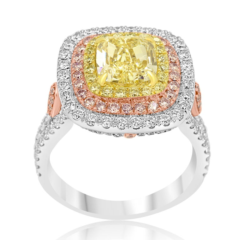 Cushion Cut GIA Certified Fancy Yellow Diamond Cushion Triple Halo Three-Color Gold Ring For Sale