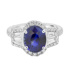 GIA Certified Blue Sapphire 3.34 Carat Diamond Halo Gold Ring