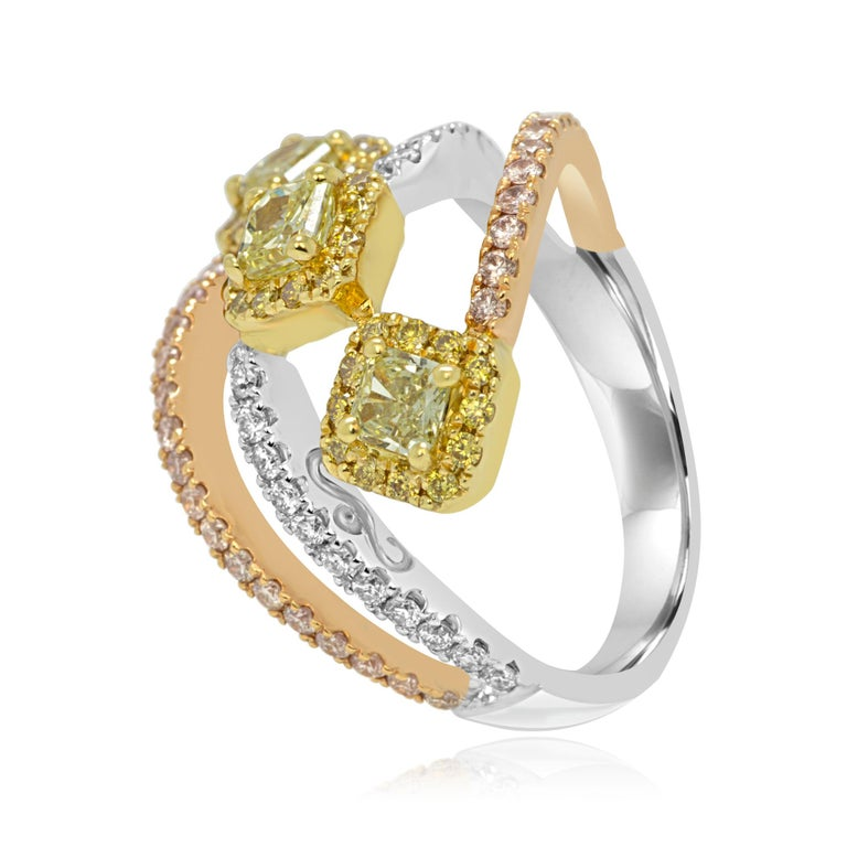 Contemporary Natural Fancy Yellow and Pink Diamond White Diamond Three-Color Gold Halo Ring For Sale