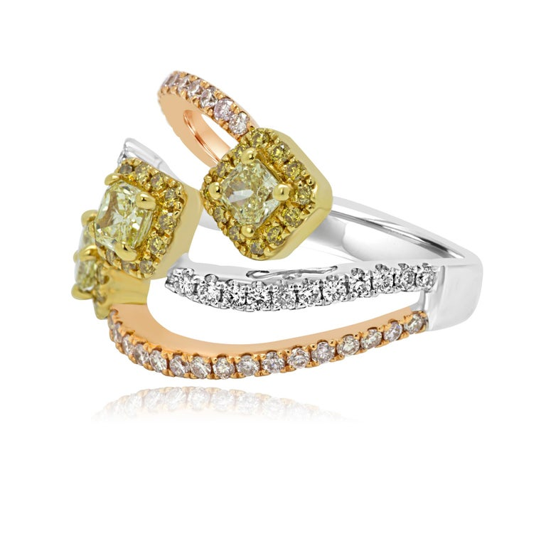 Radiant Cut Natural Fancy Yellow and Pink Diamond White Diamond Three-Color Gold Halo Ring For Sale