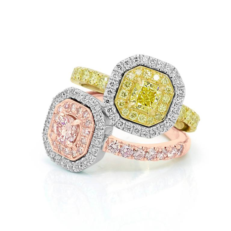 Radiant Cut Pink and Yellow Diamond Toi Et Moi Ring Three Color Gold Fashion Cocktail Ring For Sale