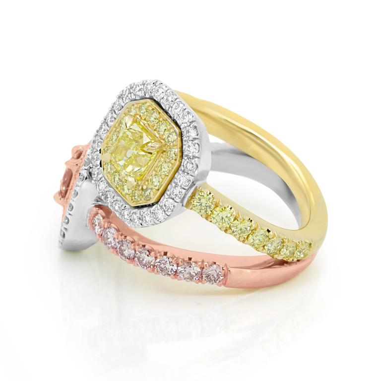 Pink and Yellow Diamond Toi Et Moi Ring Three Color Gold Fashion Cocktail Ring In New Condition For Sale In NEW YORK, NY