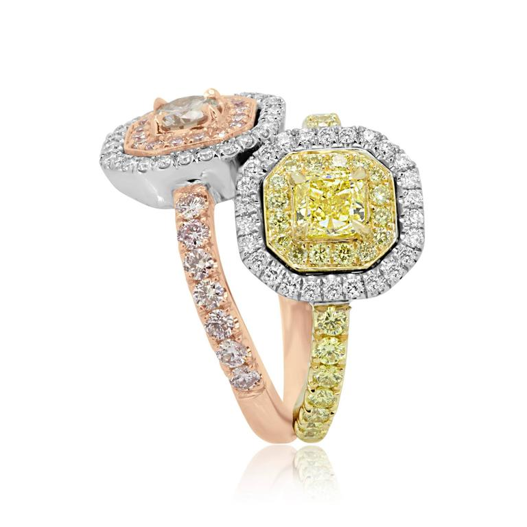 Women's or Men's Pink and Yellow Diamond Toi Et Moi Ring Three Color Gold Fashion Cocktail Ring For Sale