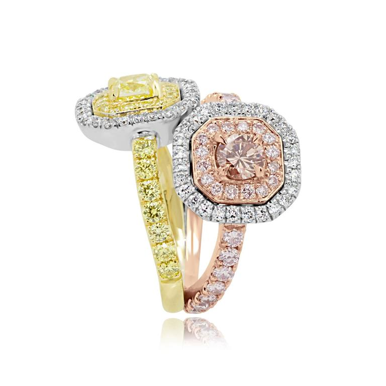 Pink and Yellow Diamond Toi Et Moi Ring Three Color Gold Fashion Cocktail Ring For Sale 1