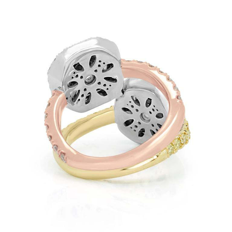 Pink and Yellow Diamond Toi Et Moi Ring Three Color Gold Fashion Cocktail Ring For Sale 2