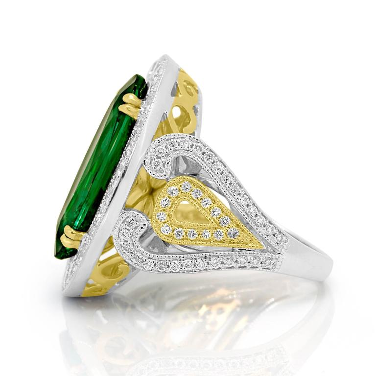 Women's GIA Certified 9.01 Carat Oval Emerald Diamond Two Color Gold Ring For Sale