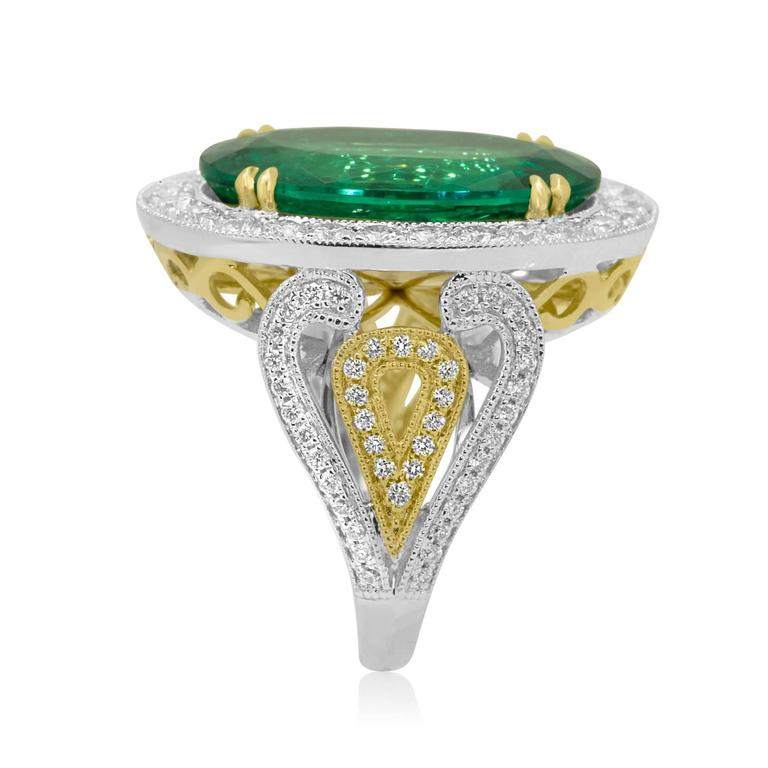 GIA Certified 9.01 Carat Oval Emerald Diamond Two Color Gold Ring For Sale 1
