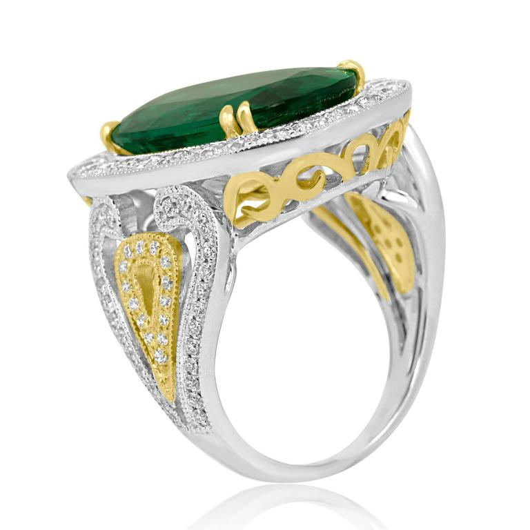 GIA Certified 9.01 Carat Oval Emerald Diamond Two Color Gold Ring For Sale 3