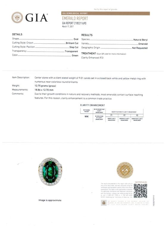 GIA Certified 9.01 Carat Oval Emerald Diamond Two Color Gold Ring For Sale 5