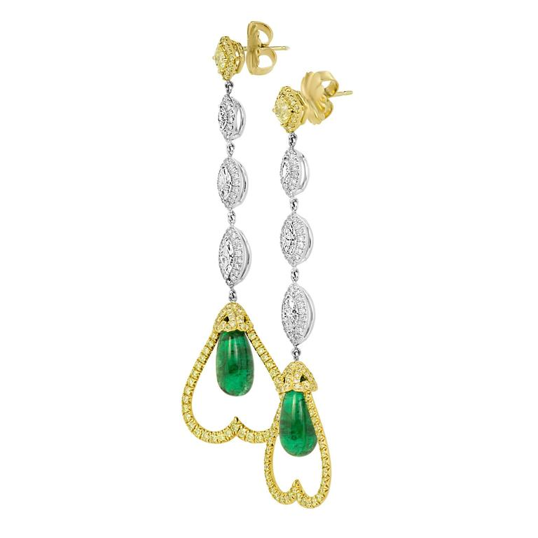 Emerald Diamond Two-Color Gold Dangle Earring 3