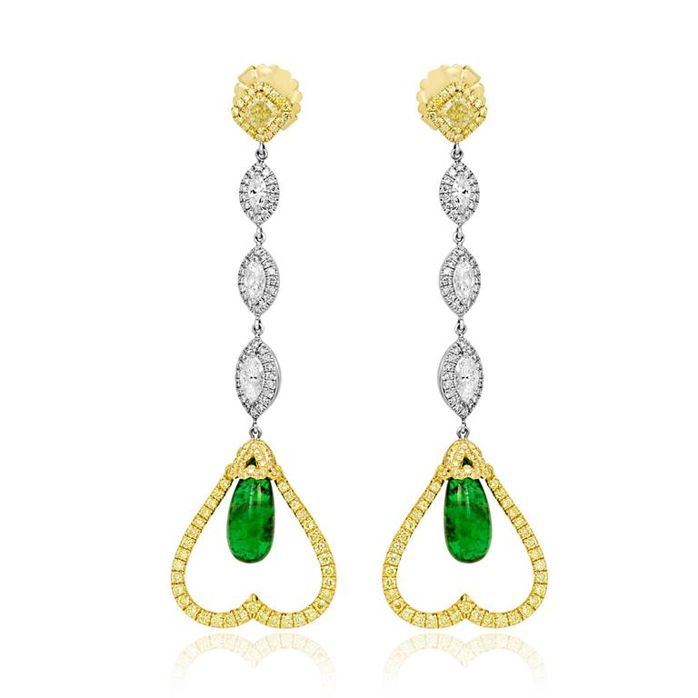 Emerald Diamond Two-Color Gold Dangle Earring 2