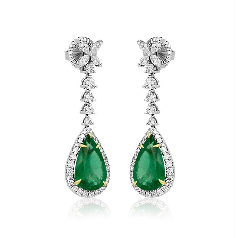 Contemporary Emerald Pear Shape Diamond Halo Two Color Gold Dangle Drop Earring For Sale