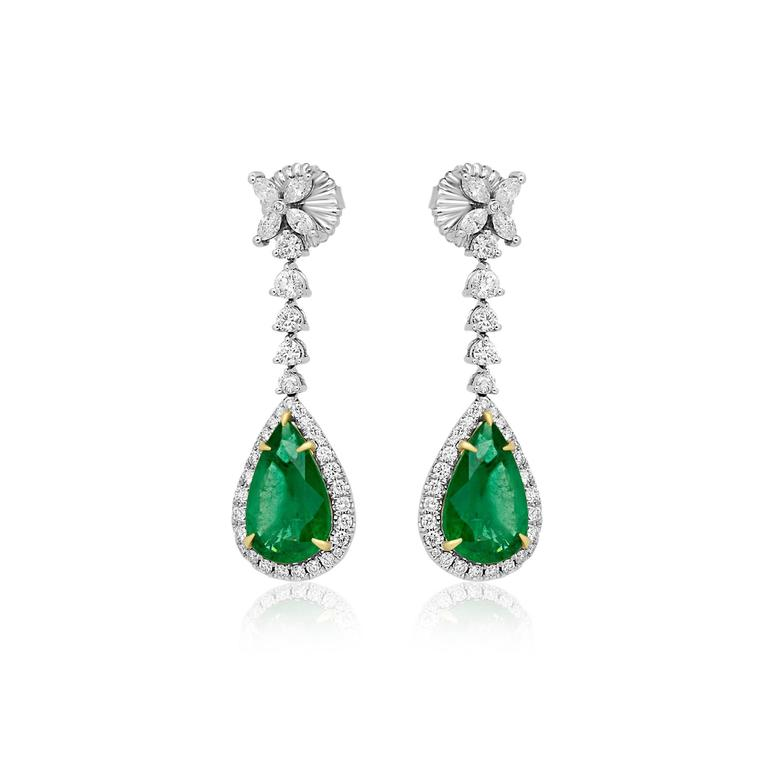 Emerald Pear Shape Diamond Halo Two Color Gold Dangle Drop Earring In New Condition For Sale In NEW YORK, NY