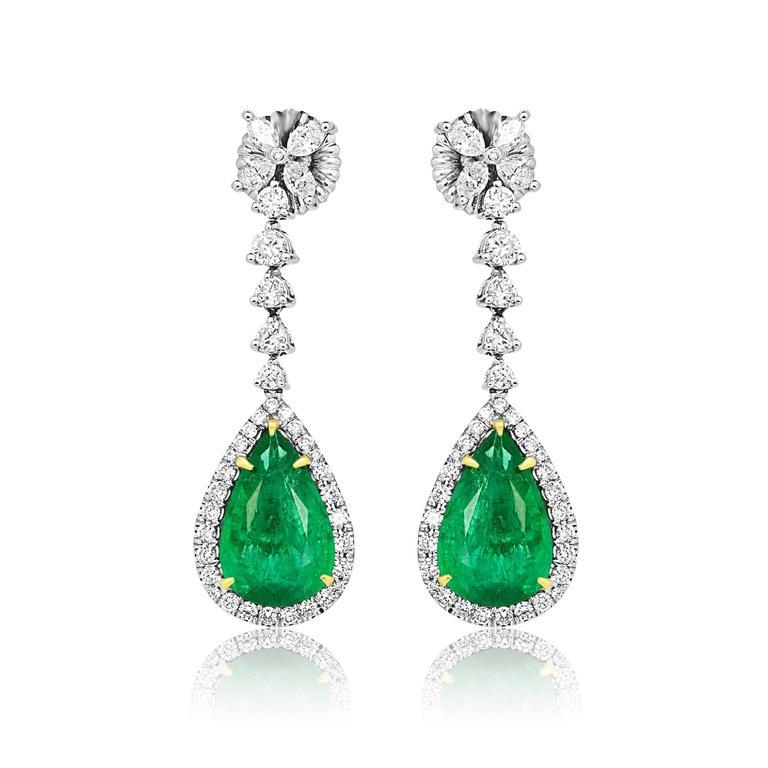 Women's Emerald Pear Shape Diamond Halo Two Color Gold Dangle Drop Earring For Sale