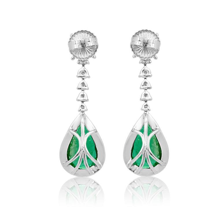 Emerald Pear Shape Diamond Halo Two Color Gold Dangle Drop Earring For Sale 1