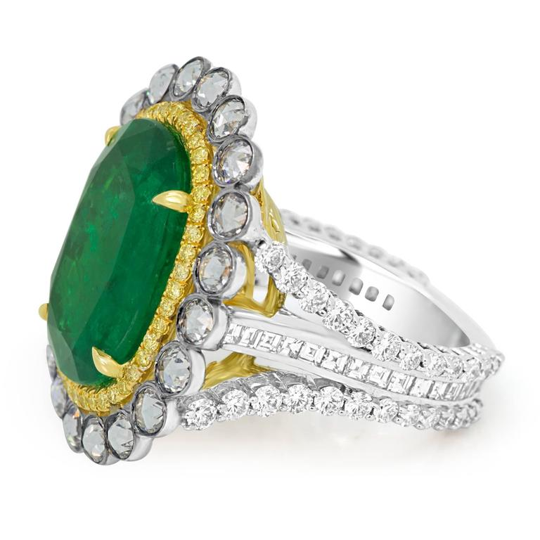 GIA Certified Emerald Diamond Double Halo Two Color Gold One of a Kind Ring For Sale 1