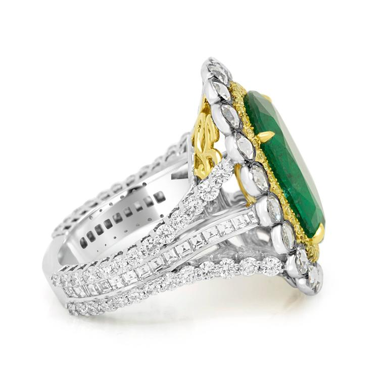 GIA Certified Emerald Diamond Double Halo Two Color Gold One of a Kind Ring For Sale 3