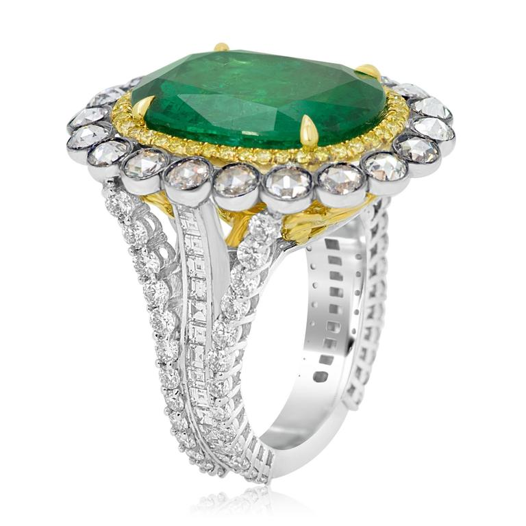 GIA Certified Emerald Diamond Double Halo Two Color Gold One of a Kind Ring For Sale 4