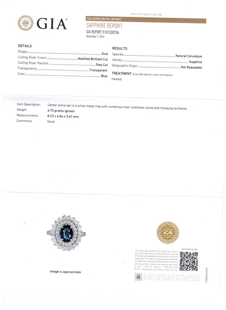 GIA Certified Blue Sapphire Diamond Double Halo Gold Fashion Cocktail Ring For Sale 1