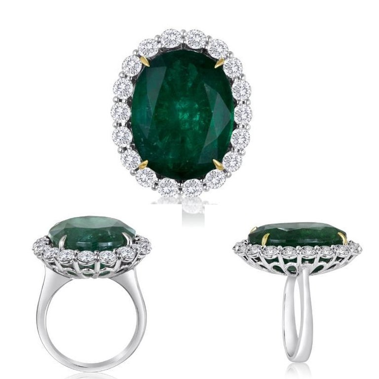 GIA Certified 19.78 Carat Zambian Emerald Diamond Halo Two Color Gold Ring For Sale 6