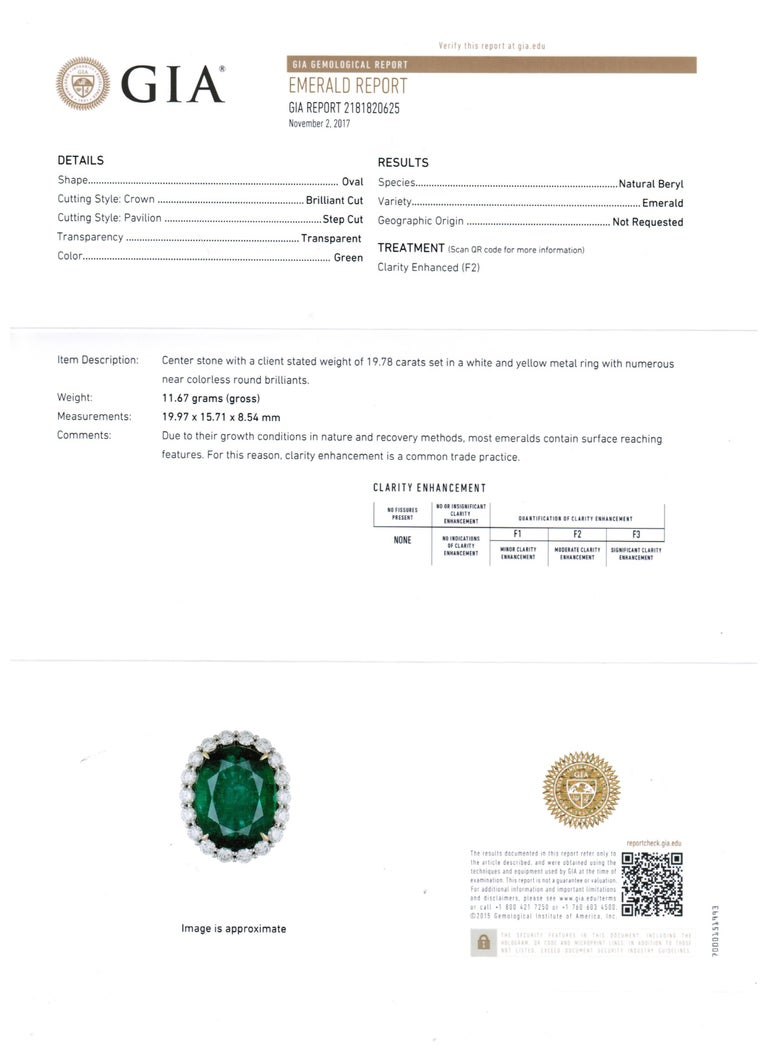 GIA Certified 19.78 Carat Zambian Emerald Diamond Halo Two Color Gold Ring For Sale 8