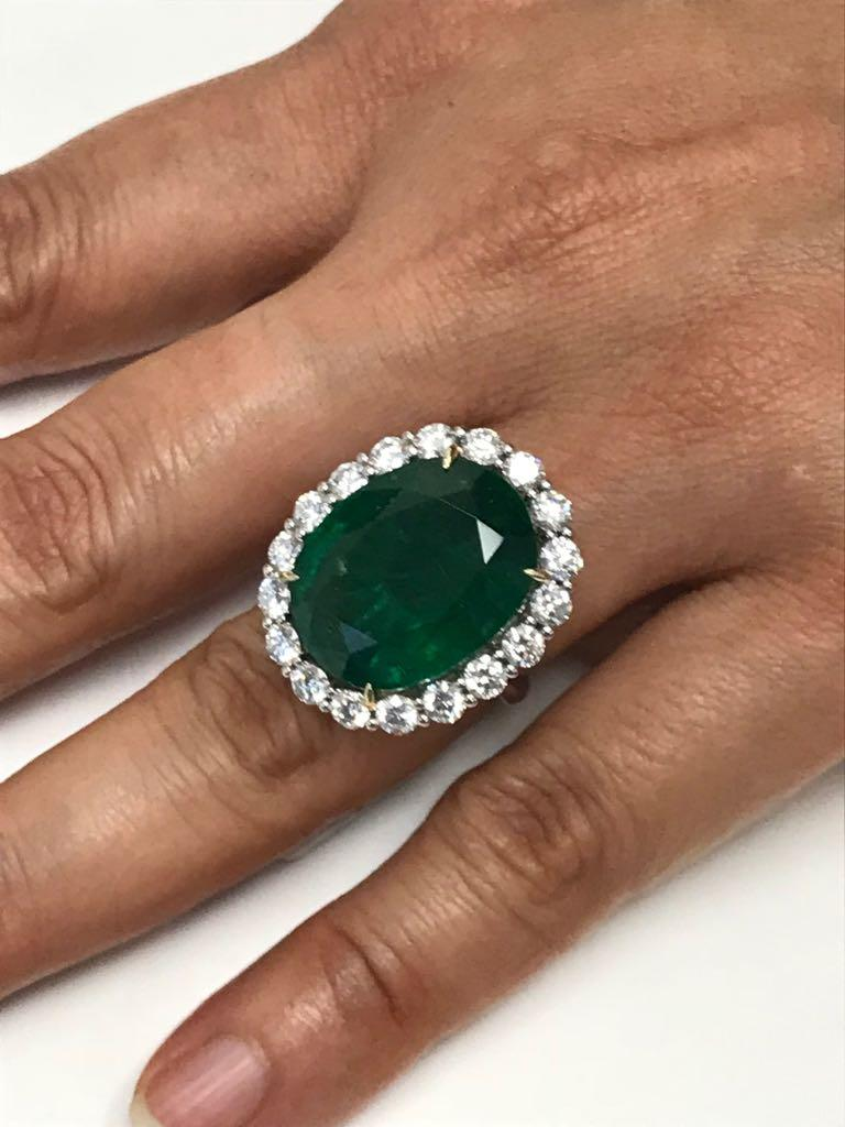 GIA Certified 19.78 Carat Zambian Emerald Diamond Halo Two Color Gold Ring For Sale 2