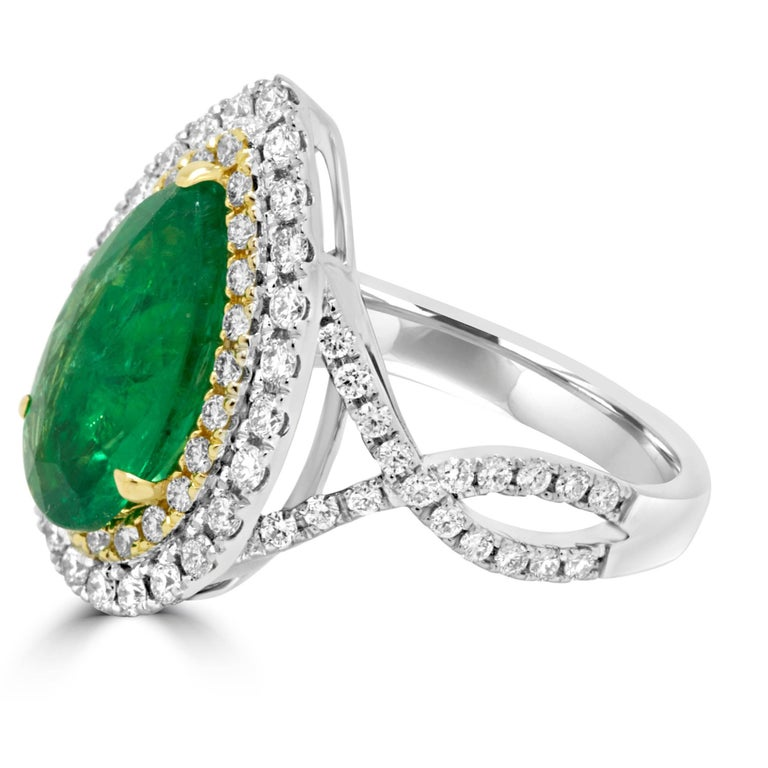 Emerald Diamond Double Halo Two Color Gold Ring For Sale