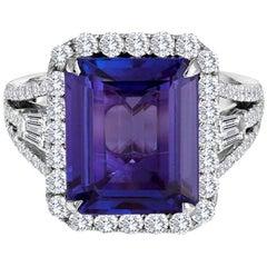 5.67 Carat Tanzanite Diamond Halo Gold Three Stone Fashion Cocktail Ring