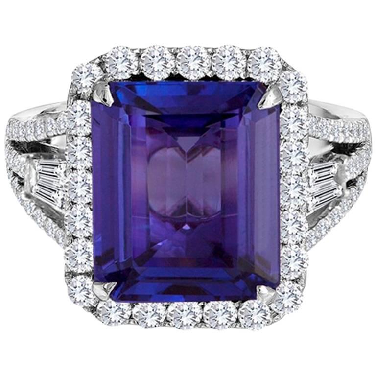 5.93 Carat Tanzanite Diamond Halo Gold Cocktail Ring