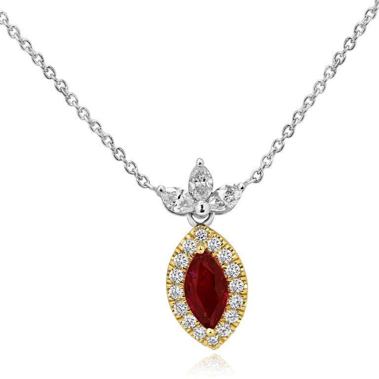Marquise Cut Ruby Diamond Halo Two Color Gold Necklace For Sale