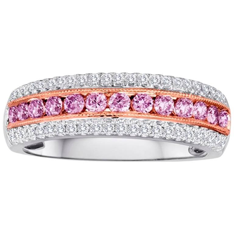 Natural Pink Diamond Three-Row Two-Color Gold Fashion Band Band Ring