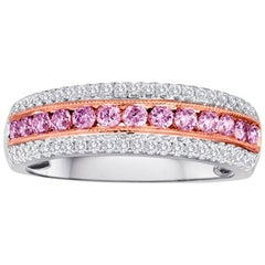 Natural Pink Diamond Three-Row Two-Color Gold Fashion Band Band Ring