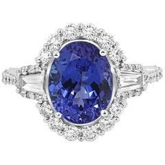 Tanzanite Oval White Diamond RoundThree-Stone Halo Gold Fashion Cocktail Ring