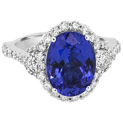 Tanzanite Oval White Diamond Round Three-Stone Bridal Fashion Halo Gold Ring