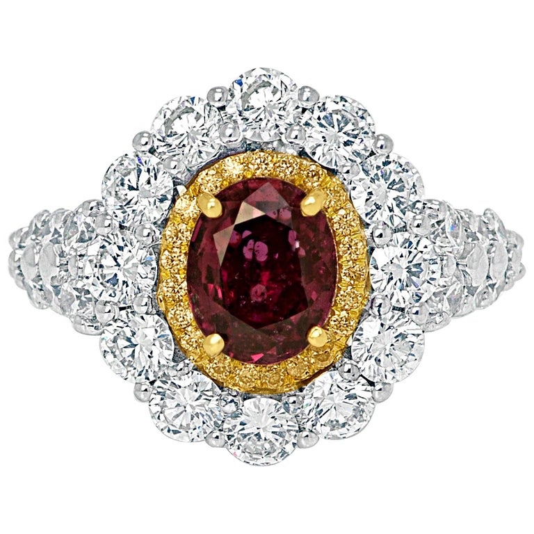 GIA Certified No Heat Oval Ruby Diamond Double Halo Two-Color Gold Ring