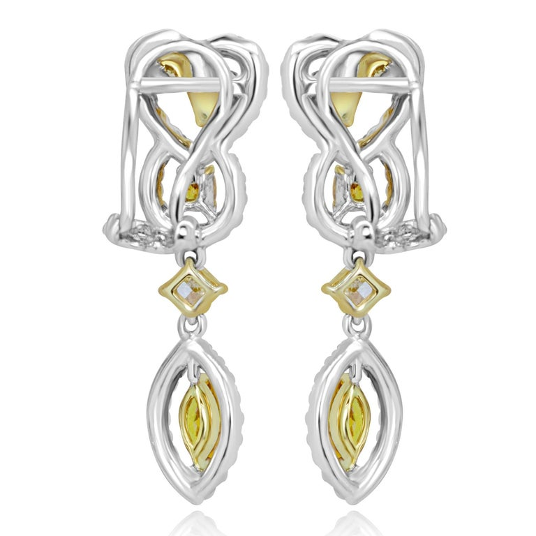 Contemporary Natural Fancy Multi-Color Diamond Halo Two-Color Gold Earring For Sale