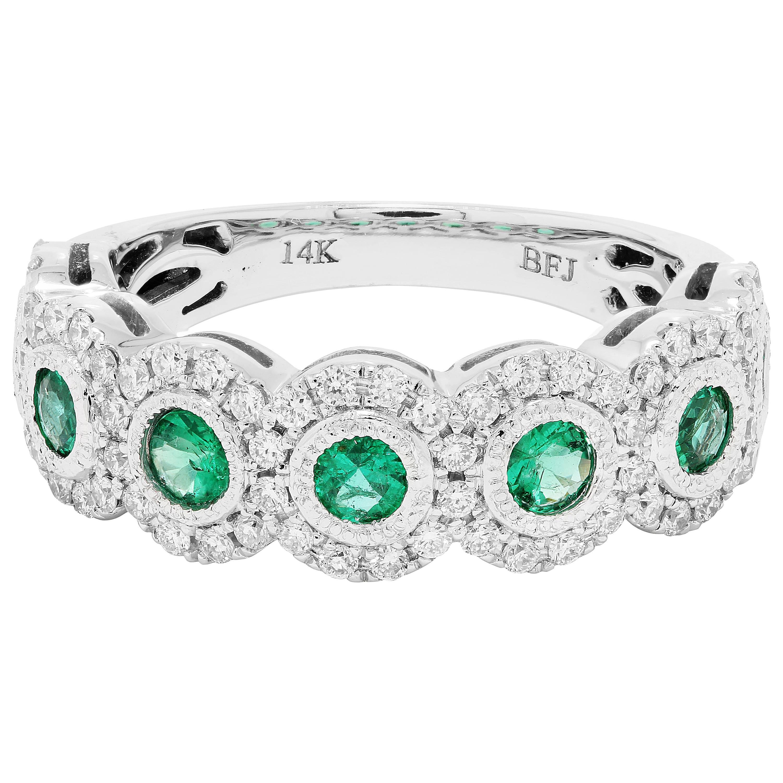 Emerald Diamond Single Halo Gold Strackable Fashion Cocktail Milgrain Band Ring