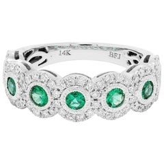Emerald Diamond Single Halo Gold Strackable Fashion Cocktail Milgrain Band Ring