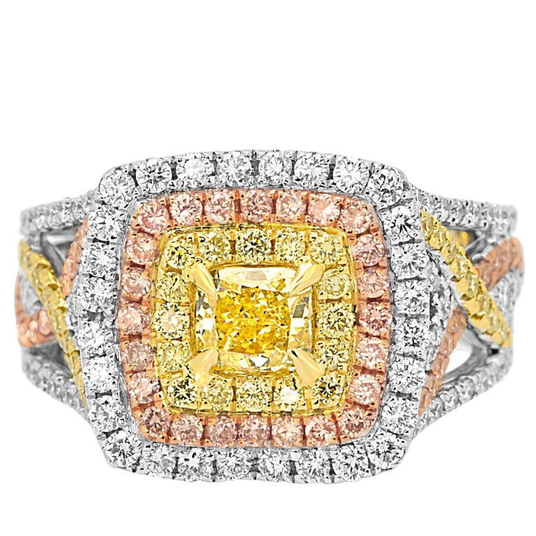 GIA Certified Fancy Intense Yellow Diamond Triple Halo Three-Color Gold Ring