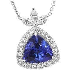 Tanzanite Diamond Halo Gold Drop Pendant Chain Necklace