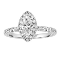 GIA Certified Marquise Diamond Halo Platinum and Gold Engagement Ring