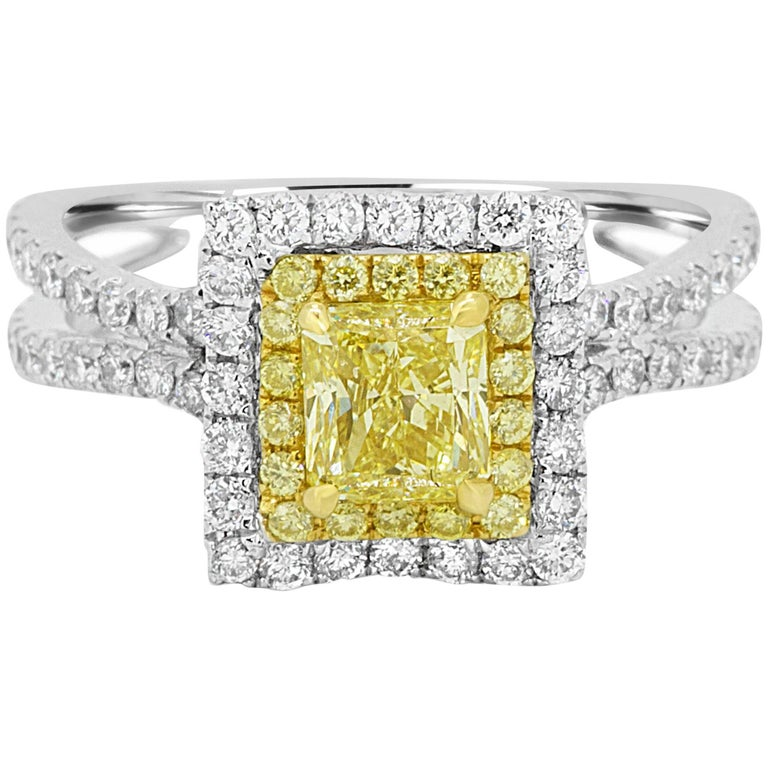Natural Fancy Yellow Diamond Double Halo Two-Color Gold Bridal Fashion Ring For Sale