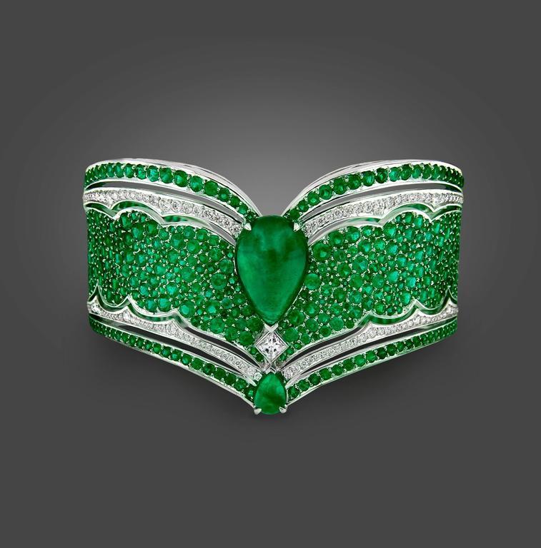 Vanleles Diamond Gemfield Emerald Legends of Africa High End Cuff Bracelet 2