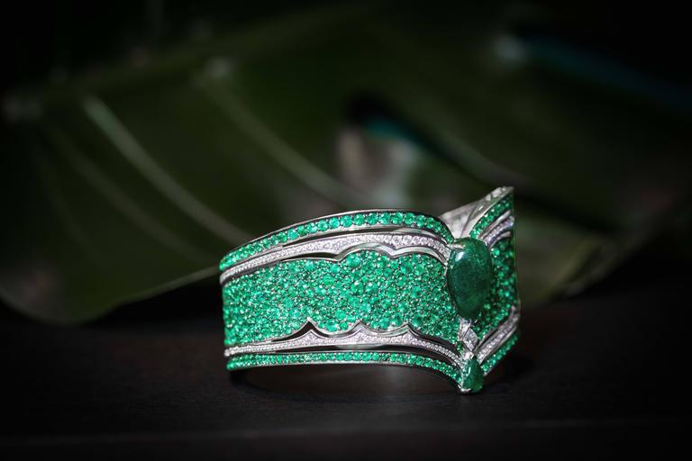 Vanleles Diamond Gemfield Emerald Legends of Africa High End Cuff Bracelet 4